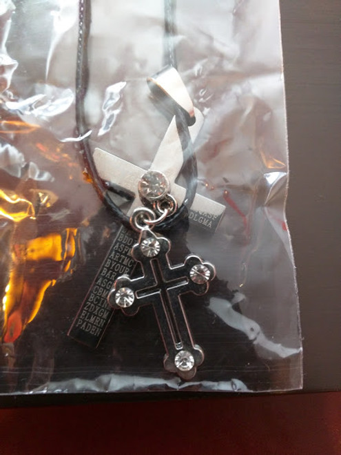 Stainless Steel Double Cross With Crystals Black Cord Chain