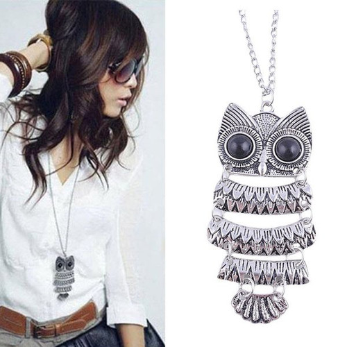 Silver Large Owl SS Link Chain