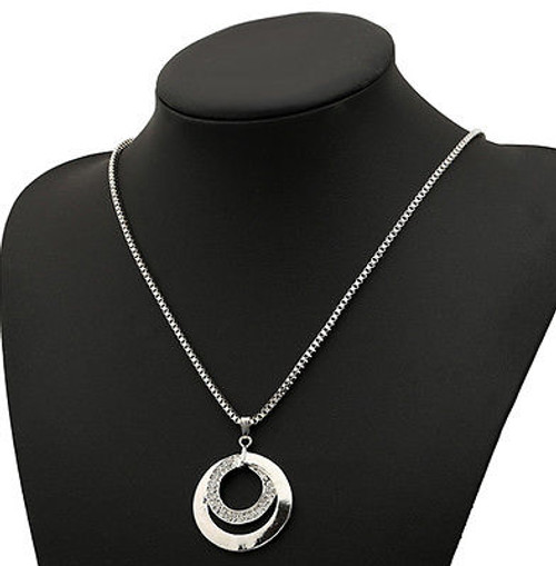 Double Circle with Crystals and SS Ball Chain