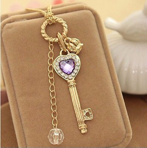 Gold Tone Key Purple Crown  Ball Chain