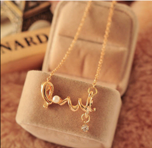 Gold Tone Love with Pearl and Rhinestone Link Chain