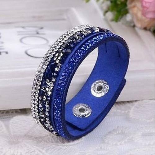 Leather Rhinestone Crystal Cuff Bracelet