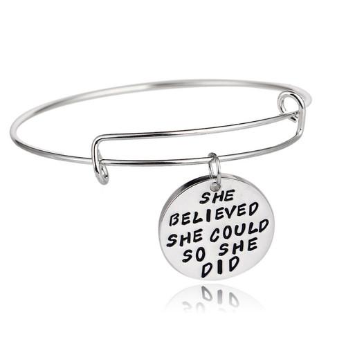 SS Bangle Affirmation Bracelet