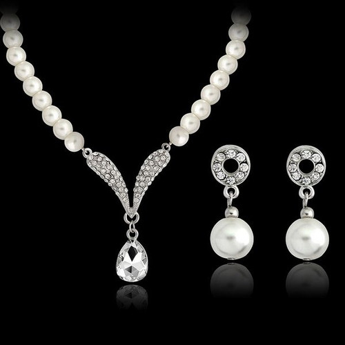 Faux Pearl Crystal Necklace Wedding Special Occasion and Bridal Jewelry Set
