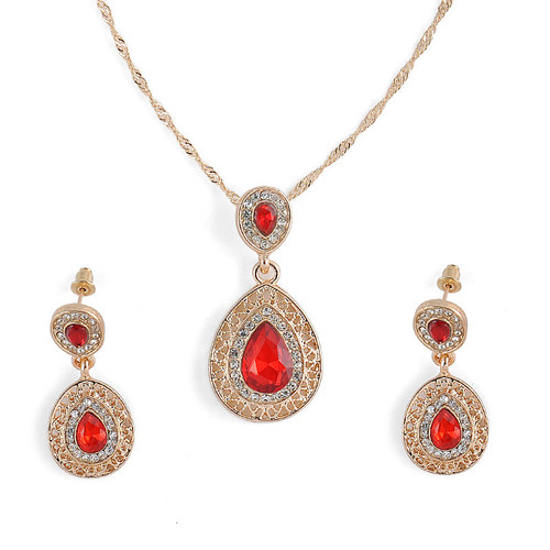 Gold Tone and Ruby Red Rhinestone Necklace and Earring Set