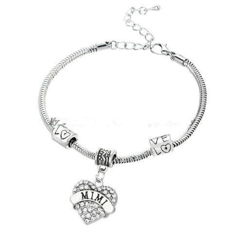 SS Rhinestone Heart and Two Love Charms Snake Chain Bracelet