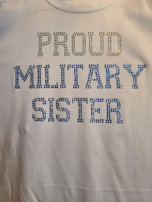 Proud Military Family Rhinestone Bling Mom Sister Daughter Wife