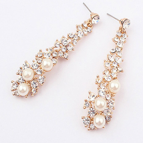 "3"" Hanging Rhinestone and Perl Drop Earrings"