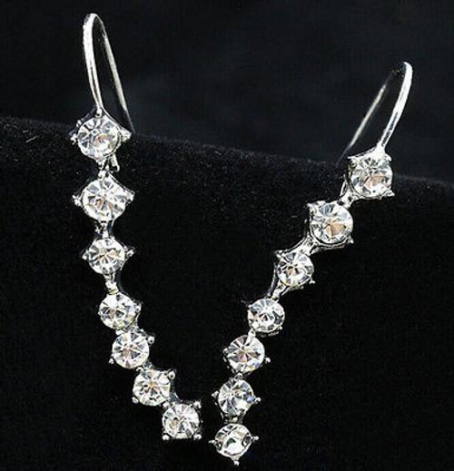 """1"""" Hanging Rhinestone Drop Earrings"""