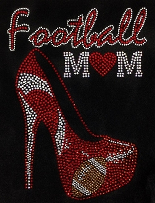 Rhinestone Large Red Football  Mom/JUNIOR FIT 2XL ONLY