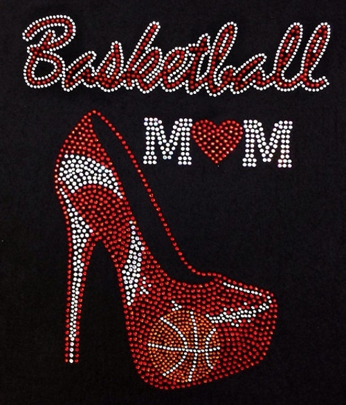 Rhinestone Large Red Basketball  Mom/JUNIOR FIT MD ONLY