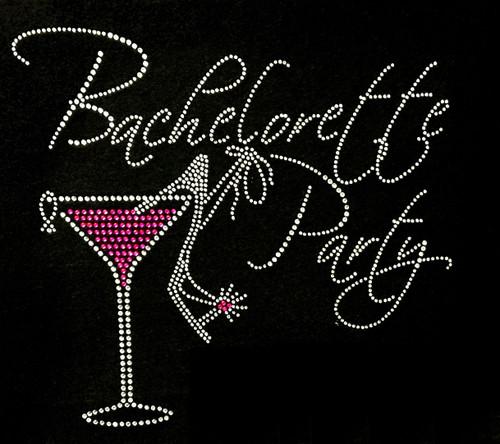 Rhinestone Bachelorette Party Martini Glass and Shoe