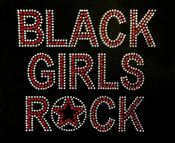 Red and Clear Rhinestone Black Girls Rock with Star