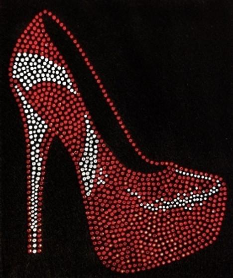 Red and White Rhinestone Stiletto