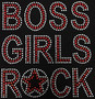 Red and Clear Rhinestone Boss Girls Rock With Star