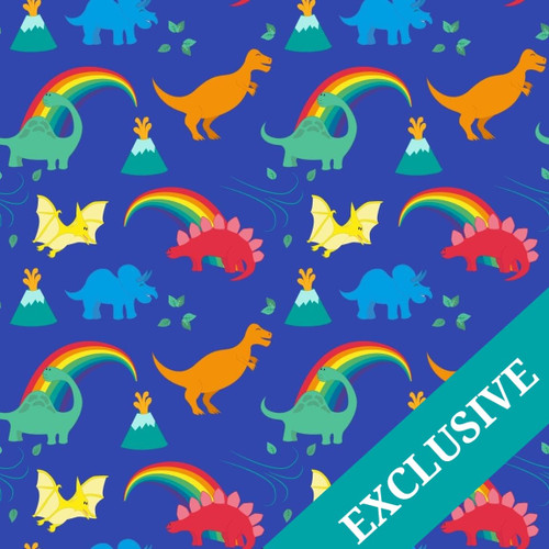 Rainbow, dinosaur, french terry, stretch fabric, jersey
