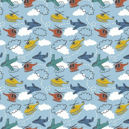 aeroplanes, planes, helicopter, helicopters, aviation, sky, blue, jersey, kids, children's, fabric, stretch, lycra, cotton, m2m, m2mfabrics