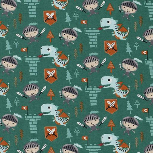 dragon, knight, castle, boys, war, fight, magical, mystical, jersey, stretch, fabric, m2m, m2mfabrics