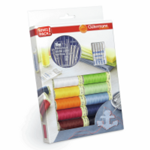 Gutermann Sew-All Recycled Thread Sewing Pack - 10 Reels and Needles