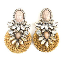 Jeweled Rattan Earrings, Blush