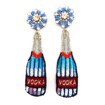 Vodka Bottle Earrings, Blue