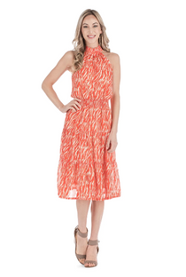 Tiered Halter Dress, Orange Zebra