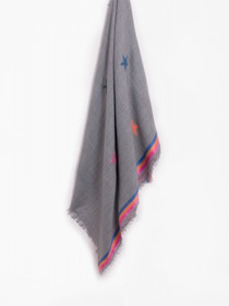 Plaid Embroidered Scarf, Grey