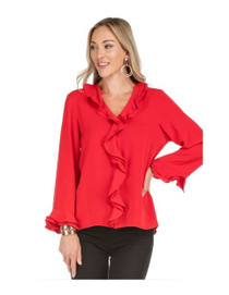 V-Neck Ruffles Top, Red