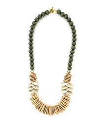 Island Coconut Wood Necklace - Neutral w Shells