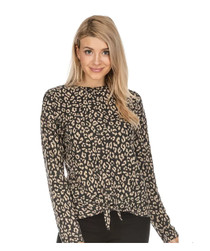 Front Tie Top, Charcoal Leopard