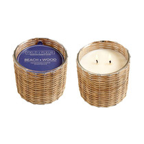 Beach Wood 2 Wick Handwoven Candle
