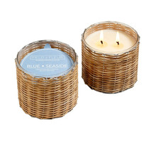 Blue Seaside 2 Wick Handwoven Candle