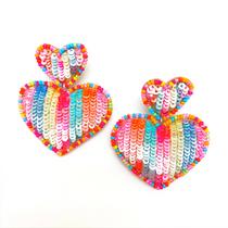 Sequin Heart Earrings, Multi