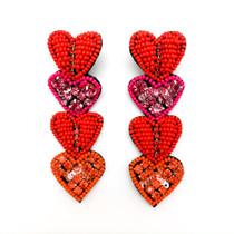Multi Heart Drop Earrings, Red