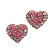 Heart Stud Earrings, Pink