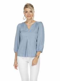 Front Pleated Top, Desert Blue
