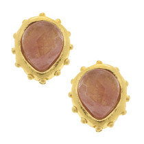 Handcast Gold Cheery Quartz Studs