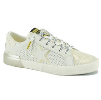 Levy Sneaker, White/Gold Snake