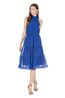 Cinched Waist Halter Dress, Royal
