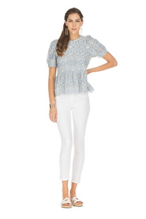 Short Sleeve Tiered Top, Blue