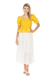 Tiered Midi Skirt, White
