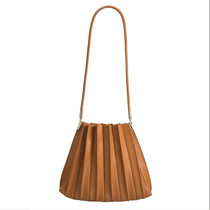 Carrie Pleated Vegan Shoulder Bag in Tan