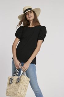 Kari Puff Sleeve Tee, Black