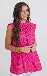 Floral Sleeveless Ruffle Top
