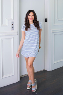 Stripe Knit Ruffle Sleeve Dress