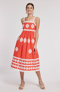 Candie Embroidered Dress, Poppy