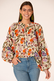 Emory Blouse, Almond Fall Floral