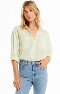 Lalo Button Up Top - Vintage Lime