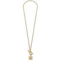 Long Bee Lock Toggle Necklace