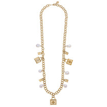 Lock & Freshwater Pearl Charm Necklace